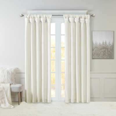 Madison Park Natalie White Faux Fur Room Darkening Twist Tab Lined Window Curtain 50 in. W x 108 in. L - Home Depot