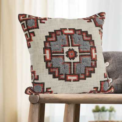 Geometric Medallion Red /Gray Cross 18 in. x 18 in. Throw Pillow, Red/Gray - Home Depot