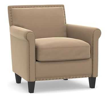 SoMa Roscoe Upholstered Armchair, Polyester Wrapped Cushions, Performance Plush Velvet Camel - Pottery Barn