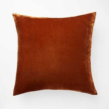 "Lush Velvet Pillow Cover, 20""x20"", Copper - West Elm"