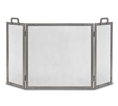 Old World Fireplace Folding Screen , 34 x 3 x 33 - Iron - Pottery Barn