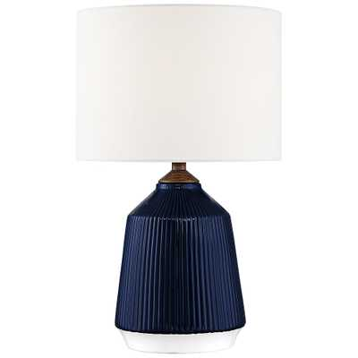 Lite Source Saratoga Blue Ceramic Striped Accent Table Lamp - Style # 69R50 - Lamps Plus