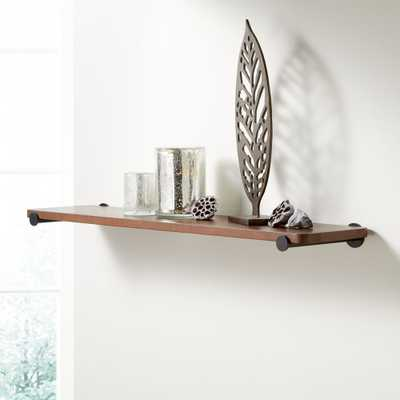 "Riggs 36"" Walnut Shelf with Black Dot Brackets - Crate and Barrel"
