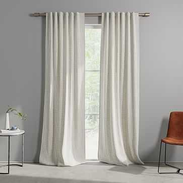 "Cotton Canvas Bomu Curtain, Set of 2, Stone Gray, 48""x96"" (Set of 2) - West Elm"