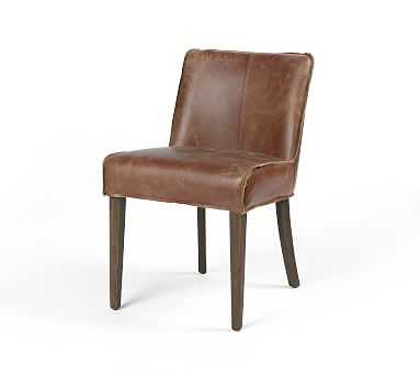 Lombard Leather Dining Chair, Sienna Chestnut - Pottery Barn