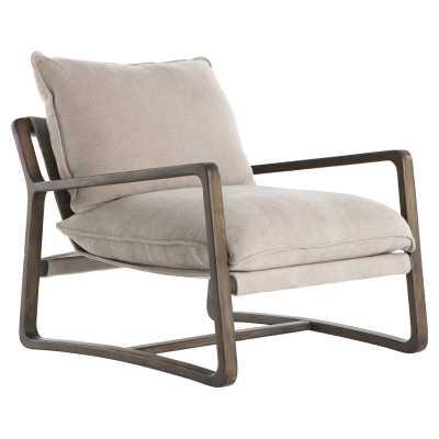 Joseph Modern Classic Cushioned Burnt Birch Wood Armchair - Kathy Kuo Home