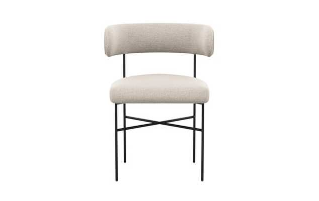 Audrey Dining Chair with Linen Fabric and Matte Black legs - Interior Define