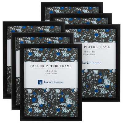 Lavish Home 11 in. x 14 in. Gallery Wall Picture Frame (Set of 6), Black - Home Depot