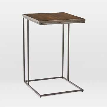 Streamline C-Side Table, Dark Walnut, Antique Bronze-Individual - West Elm
