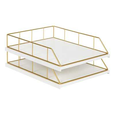 Kate and Laurel Benbrook White/Gold Metal Letter Tray (2-Pack) - Home Depot