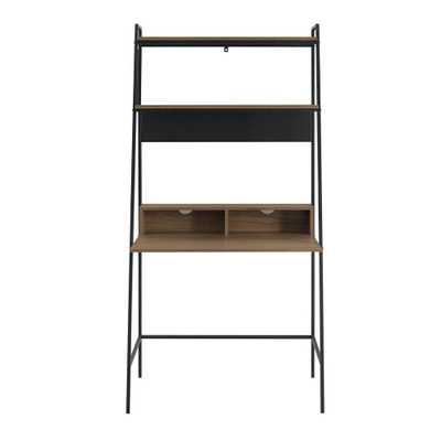 36 in. Mocha Urban Industrial Mid Century Modern Metal and Wood Ladder Desk, Brown/Black - Home Depot