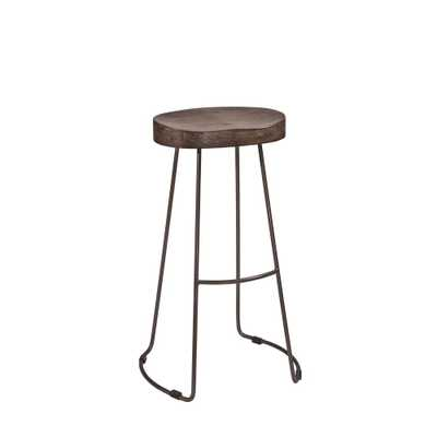 Hobbs 24 in. Distressed Black and Pewter Swivel Cushioned Counter Stool, Distressed Black/Silver - Home Depot