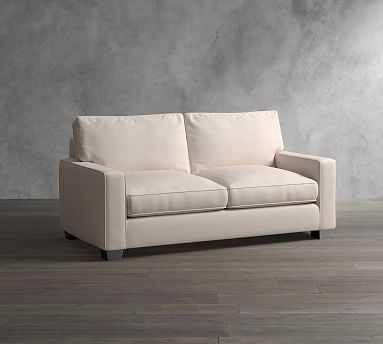 "PB Comfort Square Arm Upholstered Loveseat 61"", Box Edge Memory Foam Cushions, Basketweave Slub Ash - Pottery Barn"