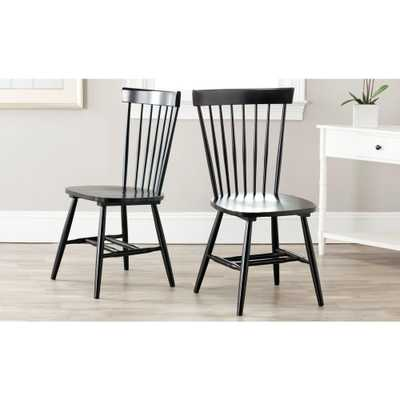 Riley Black Wood Dining Chair (Set of 2) - Home Depot