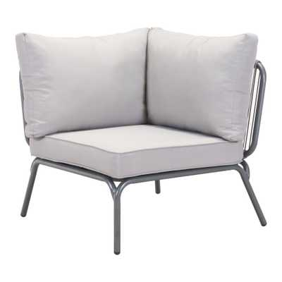 ZUO Pier Corner Patio Sectional Chair with Gray Cushion - Home Depot