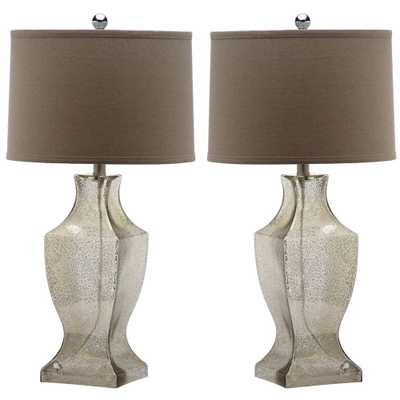 Safavieh Glass Bottom 28.5 in. Antique Silver Table Lamp with Wheat Shade (2-Set) - Home Depot