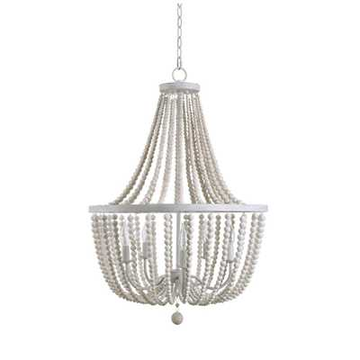 Kenroy Home Dumas 5-Light Weathered White Wood Bead Chandelier - Home Depot