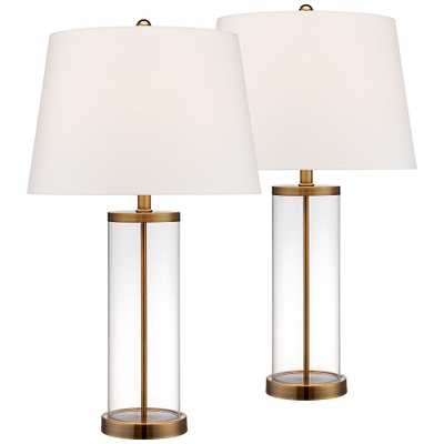 Glass and Gold Cylinder Fillable Table Lamp Set of 2 - Style # 17T86 - Lamps Plus