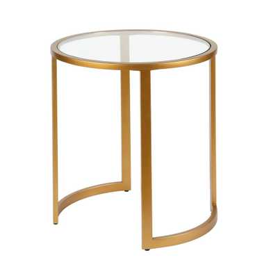 Hudson&Canal Mitera Side Table Brass Finish - Home Depot