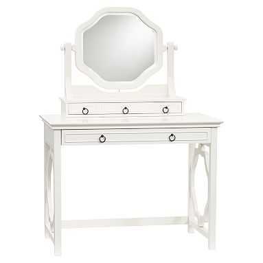 Elsie Classic Vanity Desk + Mirror Set, Simply White - Pottery Barn Teen