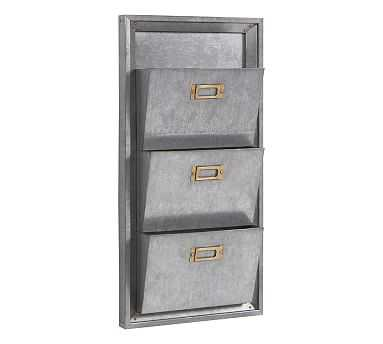 Galvanized Modular Wall System - 3-Tier Letter File Bin - Pottery Barn