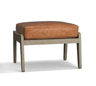 Raylan Leather Ottoman, Down Blend Wrapped Cushions, Statesville Caramel - Pottery Barn