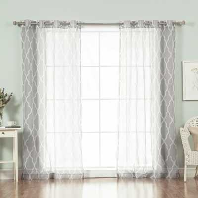 Best Home Fashion 96 in. L Sheer Moroccan Curtains in Grey (2-Pack), Moroccan Print In Grey - Home Depot