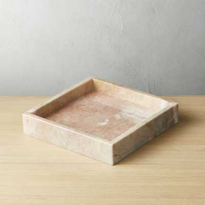 Stack Small Pink Marble Tray - CB2