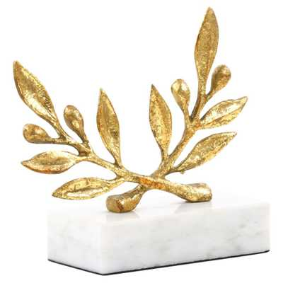 Olive Branch Gold Leaf Marble Sculpture - Kathy Kuo Home