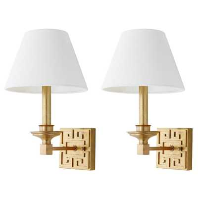 Safavieh Elvira 2-Light Gold Greek Key Wall Sconce (Set of 2) - Home Depot