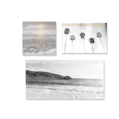'Gray Beach' 3 Piece Photographic Print Set on Canvas - Wayfair