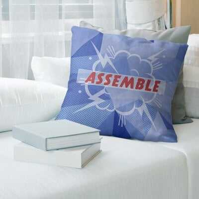 Assemble Superhero Art Pillow Cover (No Fill) -  Spun Polyester in , Pillow Cover Only in , Blue - Wayfair