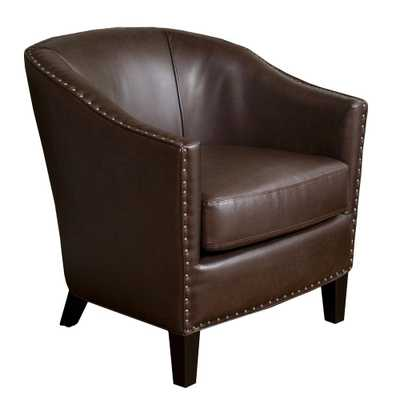 Austin Brown Bonded Leather Club Chair - Home Depot