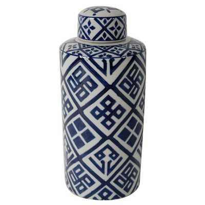 Valora Blue and White Decorative Cylinder Vase, Multi - Home Depot