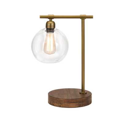 Imax Corporation Amplitude Glass and Wood Table Lamp 18 in. Bronze Table Lamp with Glass Shade - Home Depot