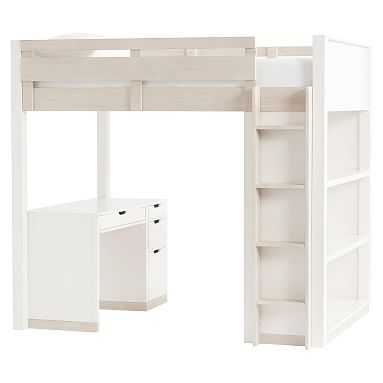 Rhys Loft Bed with Desk Set, Full, Weathered White/Simply White - Pottery Barn Teen