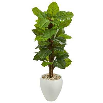Large Leaf Artificial Floor Philodendron Plant in Planter - Wayfair