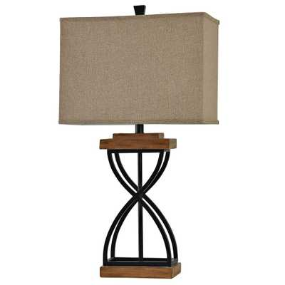 StyleCraft 31 in. Black Wood Table Lamp with Beige Hardback Fabric Shade - Home Depot
