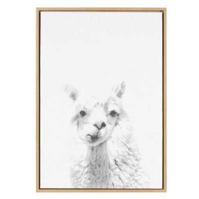 """33 in. x 23 in. """"Alpaca Portrait"""" by Tai Prints Framed Canvas Wall Art, NATURAL - Home Depot"""