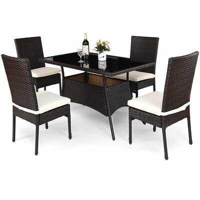 Leedom 5 Piece Dining Set with Cushions - Wayfair