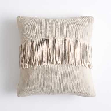 Chic Fringe Pillow Cover, 16x16, Vintage Ivory - Pottery Barn Teen