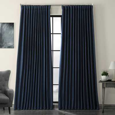 Exclusive Fabrics & Furnishings Indigo Blue Faux Linen Extra Wide Blackout Curtain - 100 in. W x 84 in. L - Home Depot