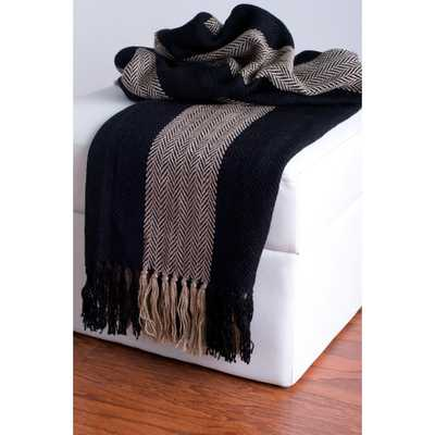 50 in. x 60 in. Black and Beige Throw, Black/Beige - Home Depot
