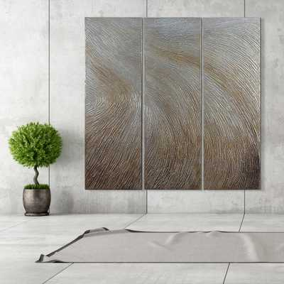 "Empire Art Direct 60 in. x 20 in. ""Gold Waves"" - Set of 3 Textured Metallic Hand Painted by Martin Edwards Wall Art, Metal Colour - Home Depot"