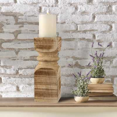 14 in. Brown Wood Pillar Candle Holder, Brown/Tan - Home Depot