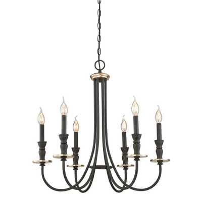 Westinghouse Cresting 6-Light Oil Rubbed Bronze with Antique Brass Accents Chandelier - Home Depot