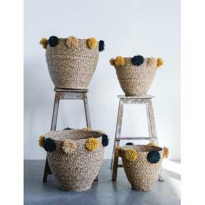 Pom-Poms Seagrass 2 Piece Basket Set - Wayfair