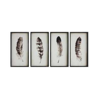 "Wood Feather Wall ArtBlack 23.6""x12.3"" 4pk - 3R Studios - Target"