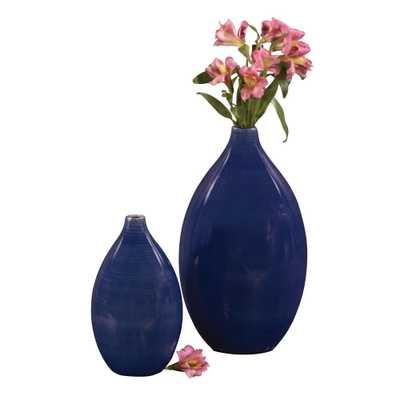 Cobalt Blue Glaze Ceramic Decorative Vases (Set of 2) - Home Depot
