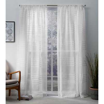 Amalgamated Textiles Monet Winter White Sheer Linen Cabana Stripe Rod Pocket Top Window Curtain - Home Depot